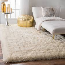 nuloom solid soft and plush white grey shag rug 5 u0027 x 8 u0027 free