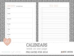 printable agenda calendar 2014 a5 week on 1 page 2014 calendar printable by organisewithkatie