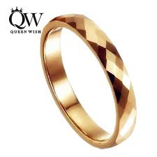 damas wedding rings queenwish 3mm tungsten ring gold breit multi faceted prism cut