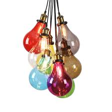 Chandelier Designer Modern Colorful Pendant Lights Multi Color Light Bulb Fixture