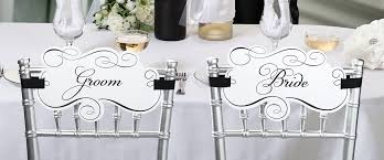and groom chair signs pair of and groom chair signs