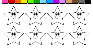 learn colors for kids and color star smiley face coloring page