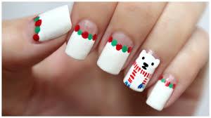 winter christmas nail art polar bear wearing a scarf