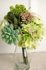 succulent bouquet hydrangea succulent bouquet in green and white 12