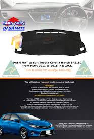 toyota corolla dash mat black dash mat to suit toyota corolla hatch zre182 nov 2011 to