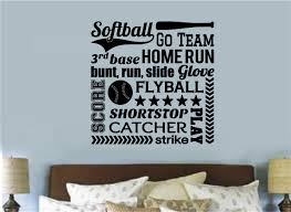 softball sports decor vinyl decal wall stickers letters words teen softball sports decor vinyl decal wall stickers letters words teen room decor