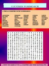 word search nationalities printable french names of countries and their nationalities countries and