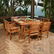 9 Pc Patio Dining Set by Shop International Home Amazonia Livorno 9 Piece Brown Eucalyptus
