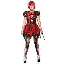 horror clown costume ladies halloween fancy dress uk 6 20