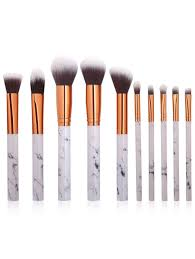 10pcs marble design handle makeup brushes set white in make up