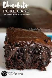 caramel chocolate poke cake spend with pennies
