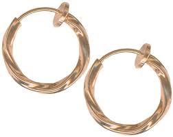 hoop clip on earrings pair of gold color twisted non clip on hoop earrings