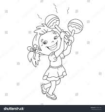 coloring page outline cartoon playing stock vector 610051742