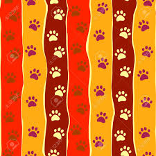 bright cats or dogs paw print and stripes seamless pattern royalty