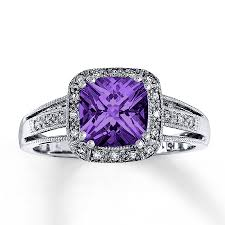 amethyst rings images Jared amethyst ring cushion cut with diamonds 10k white gold jpg