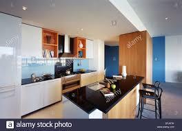 open plan kitchen in hero apartments melbourne australia stock