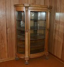 antique victorian quartersawn oak and glass bowfront curio cabinet