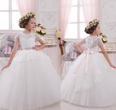 2016 new princess flower dresses for weddings cap sleeve ball