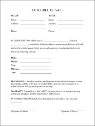 Free Sle Of Bill Of Sale For Used Car by Printable Sle Vehicle Bill Of Sale Template Form Attorney