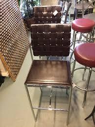 Brown Leather Bar Stool Pair Bar Stools Brown Leather Bar Height Chrome Legs