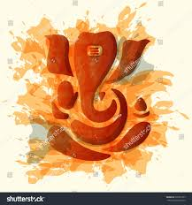 Color Painting by Ganesha Ganesh Water Color Painting Style Stock Vector 266927357