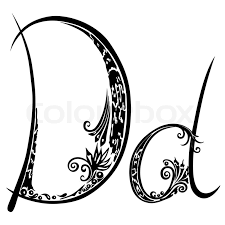 letter d d in the style of abstract floral pattern on a white