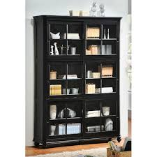 Bookcase With Glass Door To It Homelegance Stackable Wood Bookcase With Sliding