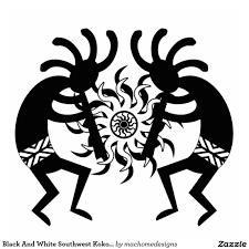 black and white southwest kokopelli tribal sun standing photo