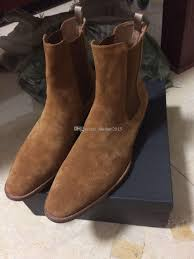 classic motorcycle boots man slp classic hedi 40 chelsea boots in tan suede elastic panels