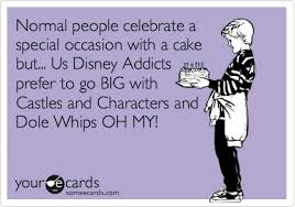 Disney Birthday Meme - normal people celebrate a special occasion with a cake but us