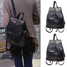 travel backpacks for women images Fashion women leather backpack rucksack travel school bag pu black jpg