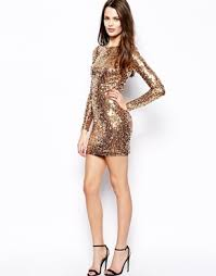 long sleeve gold sequin dress on the hunt