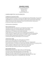 Customer Service Representative Resume Entry Level Salon Resume