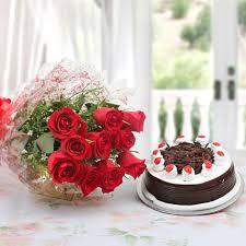 red rose u0026 half kg black forest cake u2013 gift