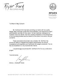 Recommendation Letter hal dorfman architect recommendation letter