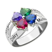 rings with birthstones and names birthstone rings for 4 names at nameplatedepot