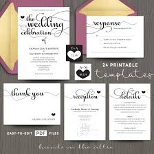 wedding celebration invitation templates printable stationery