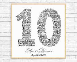 10 year wedding anniversary gift ideas personalized 10th anniversary gift word printable