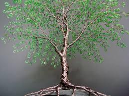 beaded wire tree bright green summer beaded bonsai wire tree