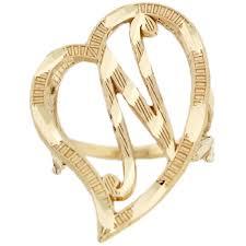 amazon com 14k real gold large heart cursive letter n diamond cut