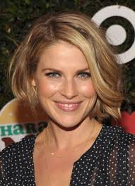 lovely layered bob hairstyle with waves for women over 40 ali