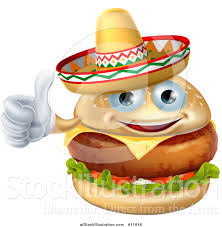 cartoon sombrero vector illustration of a cheeseburger mascot wearing a mexican
