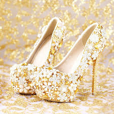 Comfortable High Heels For Wedding 2016 Fashion Comfortable Gold Wedding Shoes Women Shoes Platform
