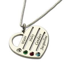 mothers necklace with birthstones wholesale family necklace with kids names engraved heart