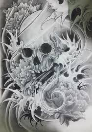 japanese skull by eric than via behance cultural