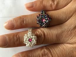 beaded flower ring youtube