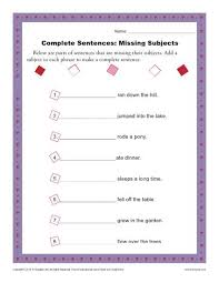 complete sentences missing subjects sentence structure worksheets