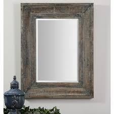 The Powder Room Cambridge Global Direct 34 In X 27 In Blue Green Rectangle Framed Mirror