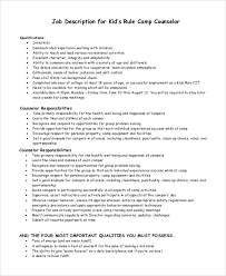 sample camp counselor job description 9 examples in pdf