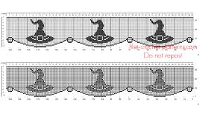 Free Halloween Border by Free Crochet Filet Pattern Halloween Border With Witch Hat Free